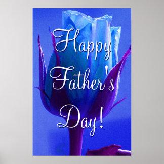 Glückliche der Vatertags-Blau-Rose Poster