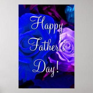 Glückliche der Vatertags-blaue lila Rosen Poster