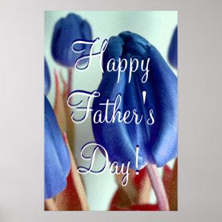 Glückliche der Vatertags-blaue Tulpen Plakatdruck