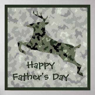Glückliche der Vatertags-Camouflage-Rotwild Poster