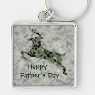 Glückliche der Vatertags-Camouflage-Rotwild Silberfarbener Quadratischer Schlüsselanhänger