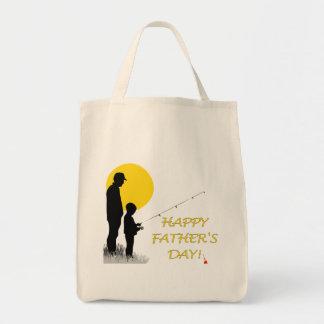 Glückliche der Vatertags-Fischen-Silhouette Tragetasche