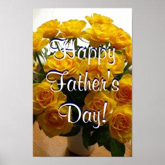 Glückliche der Vatertags-Gelb-Rosen Poster
