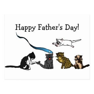 Glückliche der Vatertags-Miezekatze-Postkarte