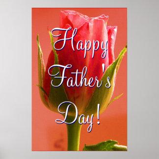 Glückliche der Vatertags-Rosa-Rose Posterdruck