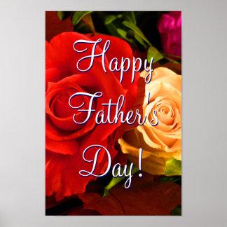 Glückliche der Vatertags-rote gelbe Rosen Plakat