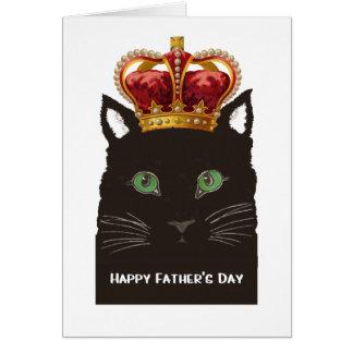 Glückliche der Vatertags-schwarze Katzen-tragende Grußkarte
