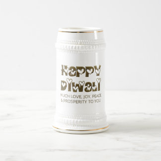 Glückliche Diwali grüßende niedliche Bierglas