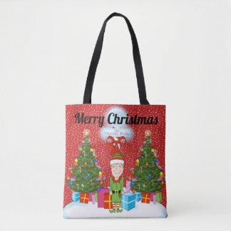 Glückliche Elf-WeihnachtsTaschen-Tasche Tasche