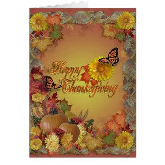 Glückliche Erntedankschmetterlinge und -Blumen Karte