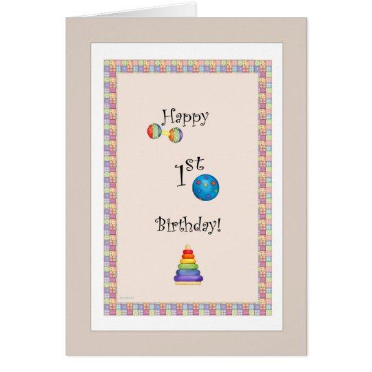 Glückliche erste Geburtstags-Karte Grußkarte