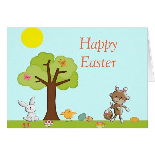 Glückliche Feier Ostern im Freien Karte