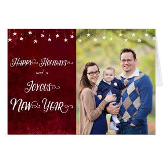 Glückliche Feiertage/freudiges neues Jahr-Foto Grußkarte