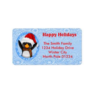 Glückliche Feiertageniedlicher Penguin Adressetikett