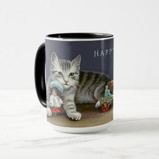 Glückliche Feiertagesüße silberne Tasse