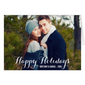 Glückliche Feiertags-Paar-Foto-Falten-Karte W Karte