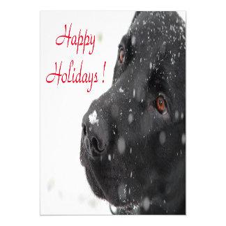 Glückliche Feiertags-schwarzer Labrador Magnetische Karte