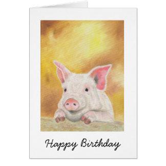 Glückliche Ferkel-Geburtstags-Karte Karte
