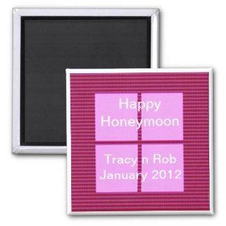 Glückliche Flitterwochen - rosa quadratische Quadratischer Magnet