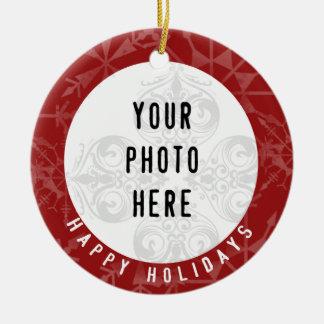 Glückliche Foto-Rot-Schneeflocke der Feiertags-2 Rundes Keramik Ornament