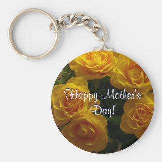 Glückliche Gelb-Rosen der Mutter Tages Schlüsselanhänger