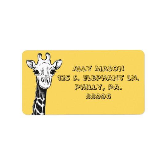 Glückliche Giraffen-Adressen-Etiketten Adressaufkleber