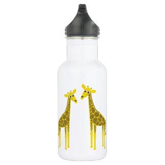 Glückliche Giraffenherde Edelstahlflasche