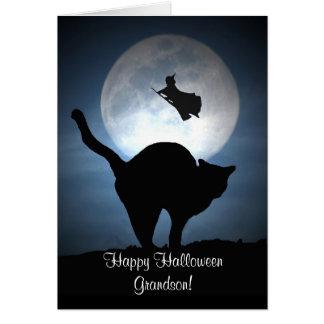 Glückliche Halloween-Enkel-Hexe-und Katzen-Karte Karte