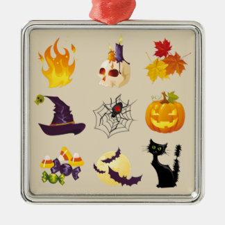 Glückliche Halloween-Illustrationen Quadratisches Silberfarbenes Ornament