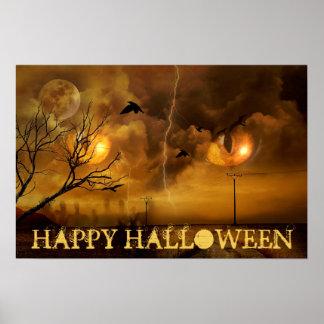 Glückliche Halloween-Katzenaugen und Spuk Poster