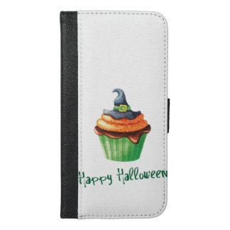 Glückliche Halloween-kleine Kuchen mit Hexehut iPhone 6/6s Plus Geldbeutel Hülle