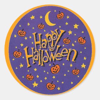 Glückliche Halloween-Kürbis-Mond-Spaß-Aufkleber Runder Aufkleber