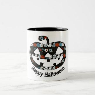 Glückliche Halloween-Kürbis-Tasse Zweifarbige Tasse