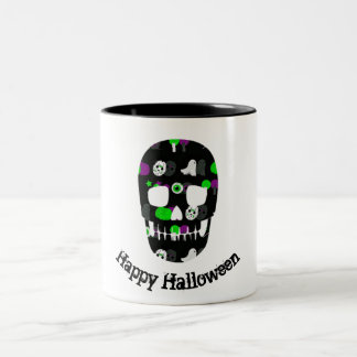 Glückliche Halloween-Schädel-Tasse Zweifarbige Tasse