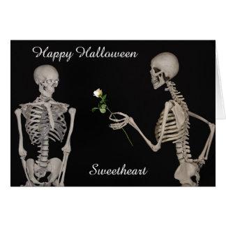 Glückliche Halloween-Schatz-Skelett-Karte Karte