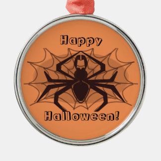 Glückliche Halloween-Spinnenverzierung Rundes Silberfarbenes Ornament