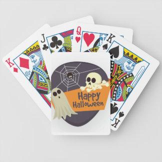 Glückliche Halloweengeister und -gekreuzte Knochen Bicycle Spielkarten
