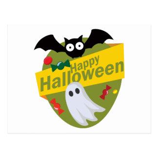 Glückliche Halloweenschläger und -geister Postkarte