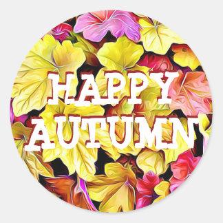 Glückliche Herbst-Herbstlaub-Aufkleber Runder Aufkleber