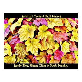 Glückliche Herbst-Herbstlaubpostkarte Postkarte