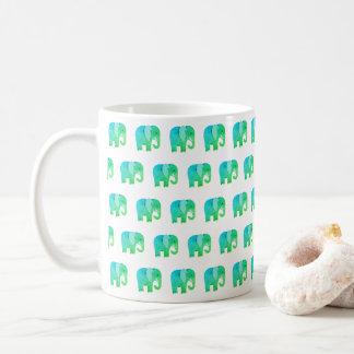 Glückliche Jade-Elefant-Druck-Tasse Kaffeetasse