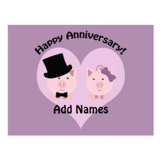 Glückliche Jahrestags-Schweinpaare Postkarte