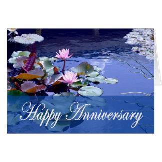 Glückliche Jahrestags-, Wasserlilie-und Karte
