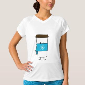 Glückliche Kaffeetasse, die einen Schal trägt T-Shirt