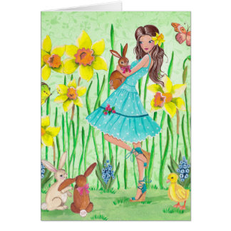 Glückliche Karte des Ostern-Blumen-Mädchen-|