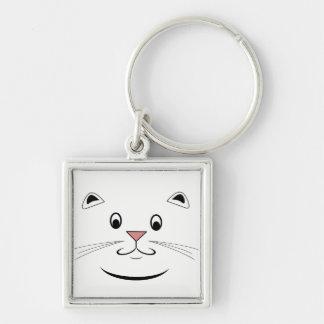 Glückliche Katzen-Geschenke Silberfarbener Quadratischer Schlüsselanhänger