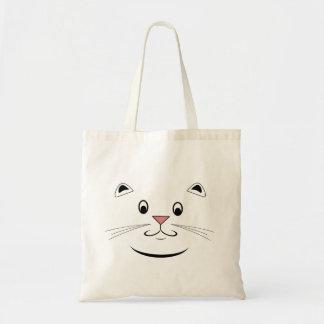 Glückliche Kitty-Katzen-Gesichts-Taschen-Taschen Budget Stoffbeutel