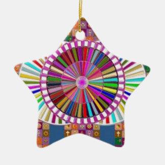GLÜCKLICHE KUNST:  WEIHNACHTSfeiertags-FESTIVALS Keramik Stern-Ornament