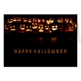 Glückliche Kürbis-Kerzen-Lichter Halloweens Karte