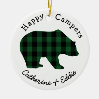 Glückliche Lagerbewohner-Namen-grüner Keramik Ornament